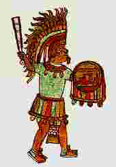 Guerrero azteca (Fuente: J.L. Rojas, Los aztecas, col. biblioteca iberoamericana, Anaya, Madrid, 1988, p. 36)