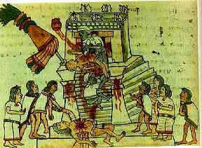 "Sacrificios humanos ( Fuente: J.L. Rojas, ""Los aztecas"", col. biblioteca iberoamericana, Anaya, Madrid, 1988, p. 44)"