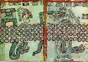 El dios del  comercio y el dios de la muerte según el códice de Madrid. Fuente: A.  Ciudad, Los mayas, col. biblioteca iberoamericana, Anaya, Madrid, 1988.  p. 103)
