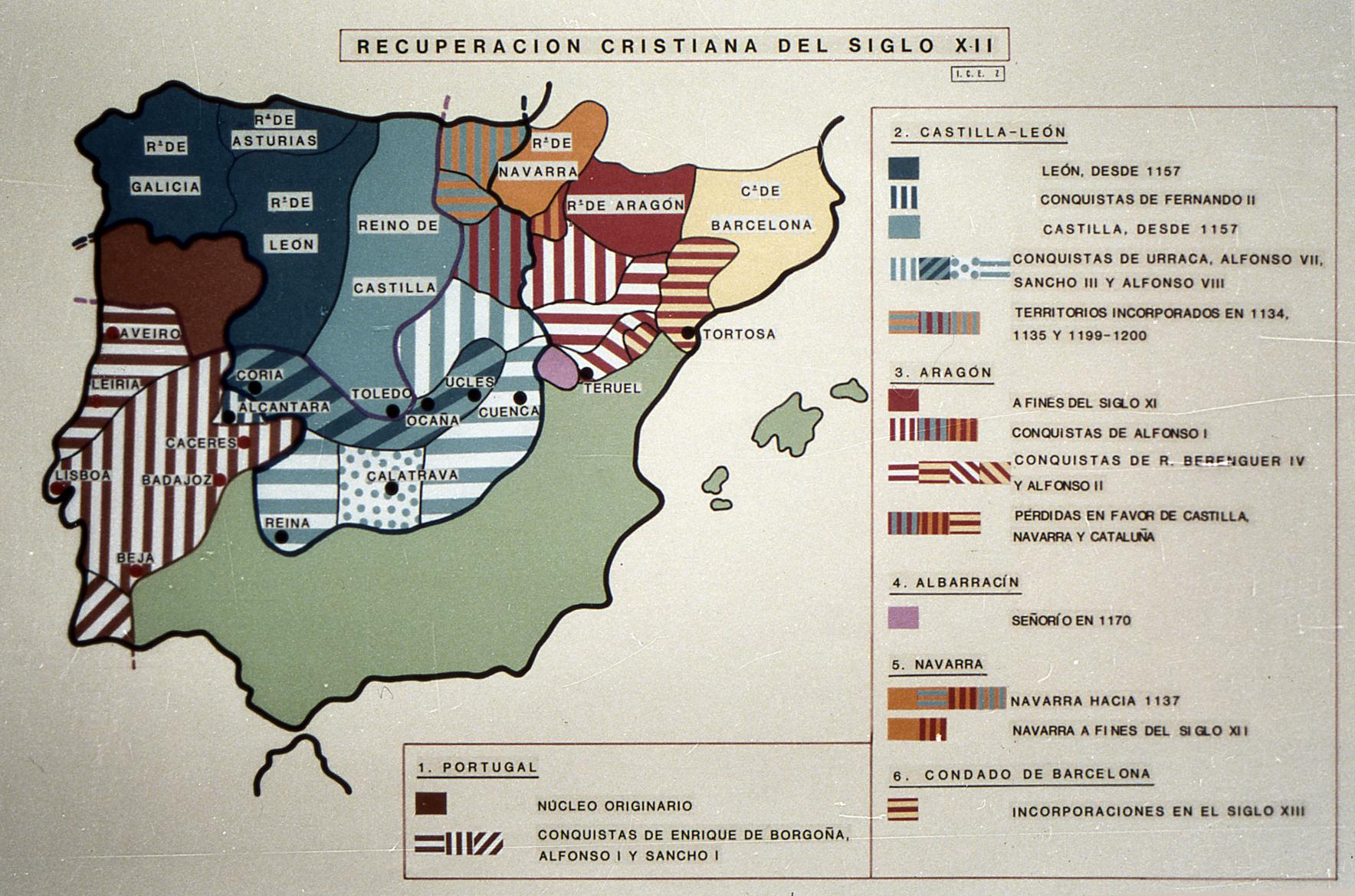 mapa de la peninsula iberica reconquistada